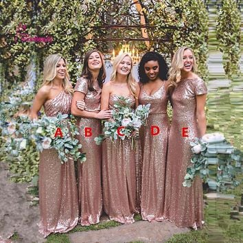 Rose Gold Bridesmaid Dresses Long Sequins Robe De Demoiselles D Honneur Pour Mariage 2017 High Quality Wedding Party Dresses