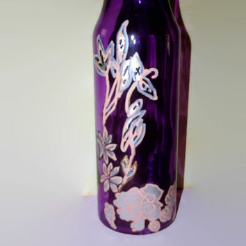 Purple Glass Vase Hand Painted Fall Flowers in Peach and Silver Lovely Table Decor 8 Inch Vase