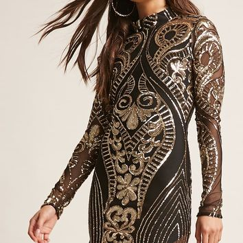 Baroque Sequin Mock Neck Dress