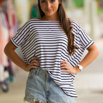 The Perfect Piko Short Sleeve Tiny Stripe Top-White/Black