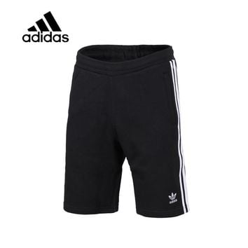 Original New Arrival Authentic Adidas 3-STRIPES Men Trainning Exercise Running Shorts Male Black Leisure Sportswear Breathable