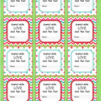 Printable Christmas Food Labels Baked With Love Sticker Labels & Party Favor Gift Tags