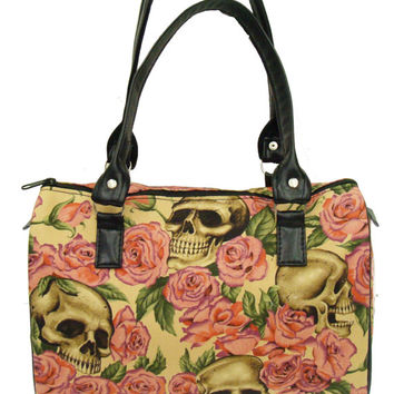 Handbag Doctor bag Satchel Style RESTING In PINK ROSES Tattoo Day of the Dead Alexander Henry Fabric Cotton Fabric Bag Purse, new, rare