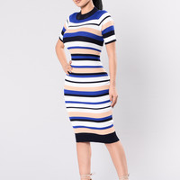 Hyped On Stripes Dress - Navy