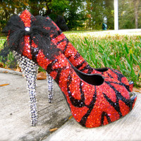 Zebra Red & Black Glitter Heels by RippedClothing on Etsy