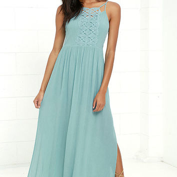 Island State of Mind Mint Blue Lace Maxi Dress