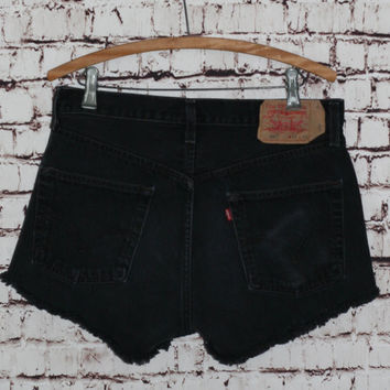 High waist cut offs shorts Levis 501 black distressed 32 hipster grunge festival gypsy boho cyber goth punk L XL 12 14 button fly