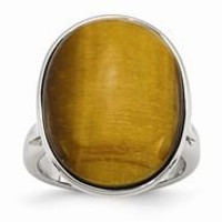 Stainless Steel Tiger's Eye, Size 7