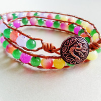Beach Wrapped Leather Bracelet with Mixed Color Cat's Eye and Striped Agate Gemstones/2X Wrap/Semi-Precious Gemstones/Button Closure