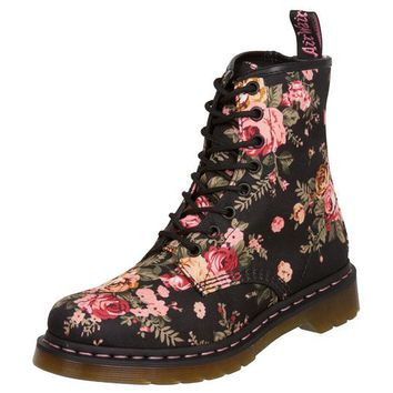 Dr Martens 1460 Black Victorian Flowers - Free Shipping. Easy Returns