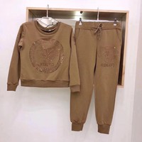 """ KENZO "" Tiger head Print Top Sweatshirt Pants Set Two-Piece"