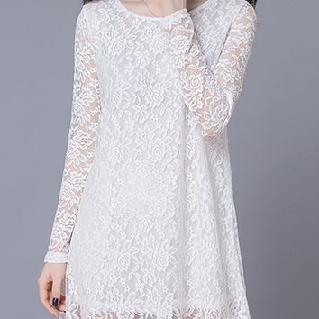 Casual Solid Round Neck Hollow Out Lace Shift Dress