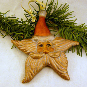 Vintage Metallic Glass Inspired Ceramic Santa Star Ornament