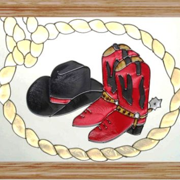 Cowboy Boots Hat and Lariat Horizontal Stained Art Glass Panel