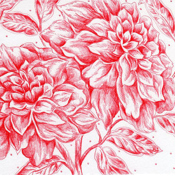 """Ruby Love -  Red Flower - Ink Drawing - Hand Drawn 5x7"""" Flower Art - Red and White"""