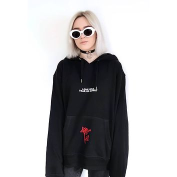 Love Will Tear Us Apart Rose Letter Print Hoodies Sweatshirt Black Tumblr Inspired Aesthetic Pale Pastel Grunge Aesthetics Tops