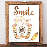 vintage camera printable, smile, wall art, photographer gift, poster, photography, retro camera print, watercolour, camera print watercolor