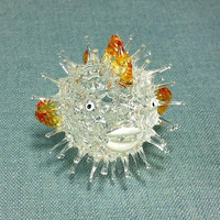 Hand Blown Glass Funny Tiny Diodon Holocanthus Spines Fish Sea Animal Cute Orange Figurine Statue Decoration Collectible Small Hand Painted