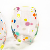 Blown Glass Tumbler Glassware / Retro Polka Dot Colorful Juice Glasses Holidays Summer Entertaining / teamprojectt mstarteam
