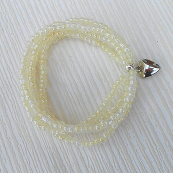Lemon chiffon bracelet, lemon multi strands, lemon seeds beads, friendship bracelet, lemon beaded, beaded bracelet, gift ideas, lemon gift