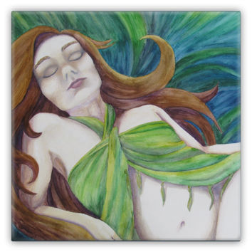 Earth Goddess Lounging - Metal Magnet of Acrylic Paint and Watercolor Pencil Fine Art
