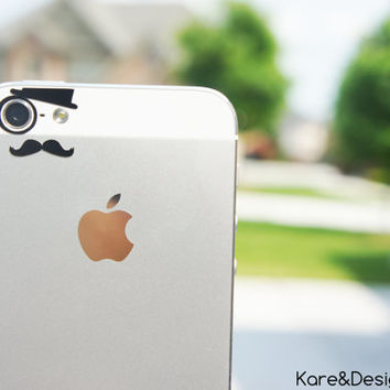 Like a Sir (monocle, hat, mustache) iPhone 5 vinyl decal for camera eyes -- Available in BLACK or WHITE