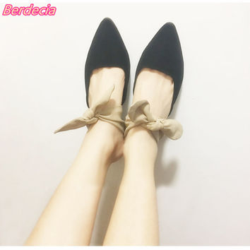 Berdecia Spring Women Pumps with Butterfly-knot Lace-up Pointed Toe Ladies Mules Spike Heels Casual Shoes Female sapato feminino