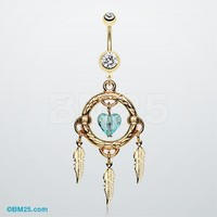 Golden Heart Hoop Dream Catcher Belly Ring