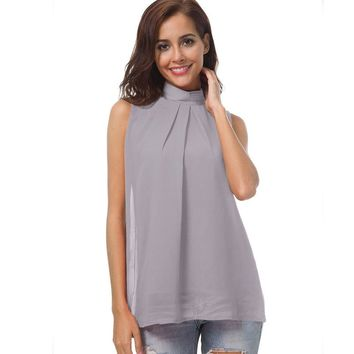 Fashion Women Chiffon Gray Red Blouses Summer New Korean Fashion Sleeveless Women Turtleneck Top Sleeveless Shirt Casual Tops