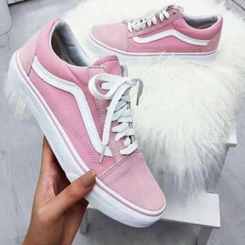 Fashion Online Vans With Warm Casual Shoes Men And Women Pink Cloth Shoes Pink