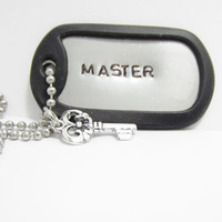 Master Necklace, BDSM Hand Stamped Dog Tag, Dominant,  Custom Jewelry Made to Order, Master