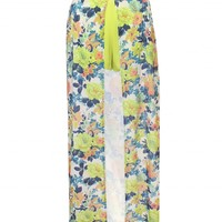 LOVE Lime Floral Split Front Maxi Skirt With Underlay Shorts