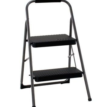 Cosco Dark Gray 2 Step Lightweight 225 lb Capacity Folding Flat Step Stool Ladder