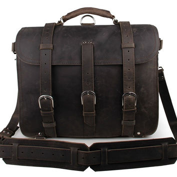 Dark Grey Crazy Horse Leather Men's Briefcase Backpack Travel Bag Huge