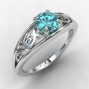 Aquamarine engagement ring, white gold, filigree ring, blue engagement, solitaire, vintage style, lace ring, birthstone