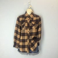 70s Flannel Shirt, Vintage Flannel Shirt, Soft Acrylic Flannel, 1970s Shirt, Brown Plaid Flannel Shirt