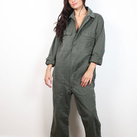 Vintage Army Green Coveralls Long Sleeve Mechanics Overalls Military Green Zip Front Jumpsuit Flight Suit Surplus Pants L Extra Large XL