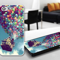 Disney Up Baloon Flying House Heat Print Case for iPhone 4/4s, 5, 5c, 5s, Samsung S3, S4