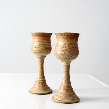 vintage studio pottery wine glass set of 2