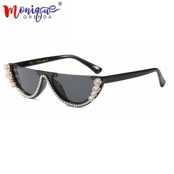 32339efc832 Sunglasses Women trendy half frame rimless cat eye sunglasses rh