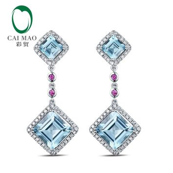 14KT White Gold 7.52ct Natural Sky Blue Topaz Diamonds Pink Ruby Earrings