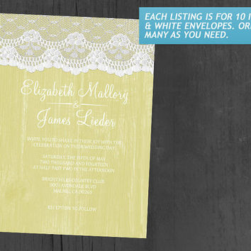 Yellow Rustic Lace & Barn Wood Wedding Invitations | Invites | Invitation Cards