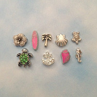 Floating charms for living memory lockets flower, surfboard, palm tree, shell, turtle, crystal turtle,crystal anchor, pink shell, seahorse