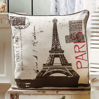 "18"" Paris Vintage Travel Accent Decorative Pillow Chair Sofa Bed Home Decor"