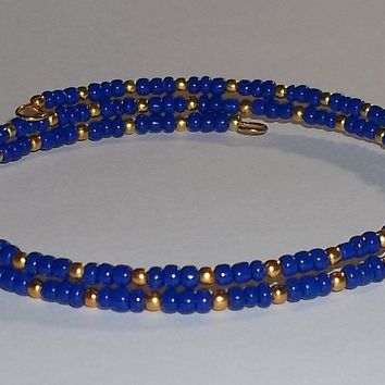 Navy Blue & Gold Glass Beaded Artisan Crafted Stackable Wrap Bracelet (S-M)