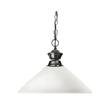 Z-Lite 100701GM-AMO14 Shark One-Light Gun Metal Dome Pendant with Angled Matte Opal Glass Shade