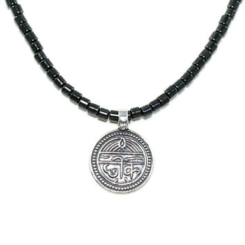 "Magnetic Hematite Sanskrit ""Good Health"" Pendant Necklace"