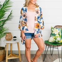 Everly Fawning Over You Floral Kimono - Navy/Mustard