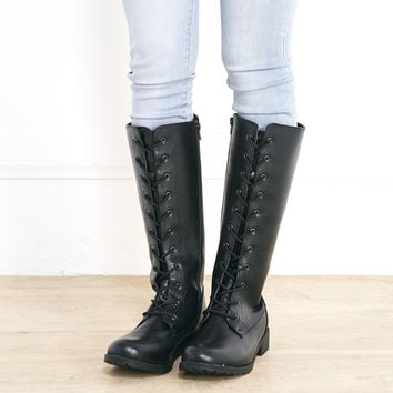 Faux Leather Combat Boots | Wet Seal