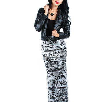 LYSS LOO AZTEC PRINTED FOLD OVER MAXI SKIRT SK753 - Small